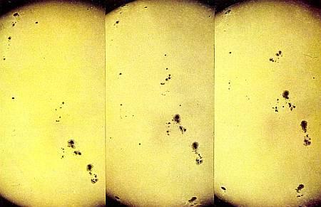 Движение солнечных пятен убеждает нас в том, что Солнце вращается вокруг своей оси.