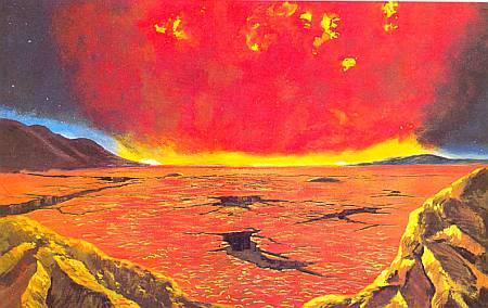 Красное Солнце светит над пылающей и высушенной Землей.