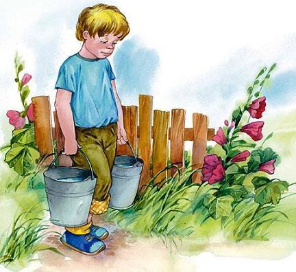 мальчик несет ведра с водой