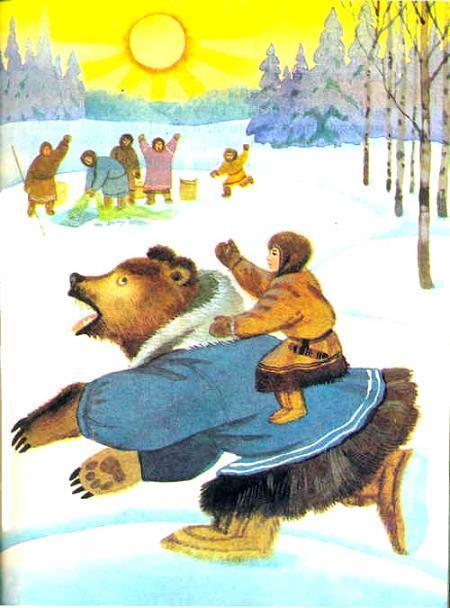 мальчик верхом на медведе