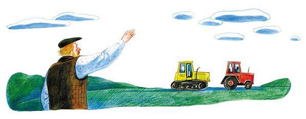 два трактора в поле