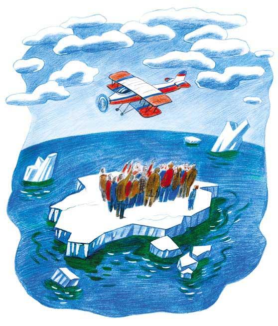 люди на льдине машут самолету в небе