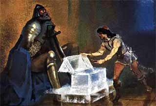 королевич и вошел во дворец увидел одноглазого сторожа Около сторожа стоял трехногий столик, на нем хрустальный ларчик