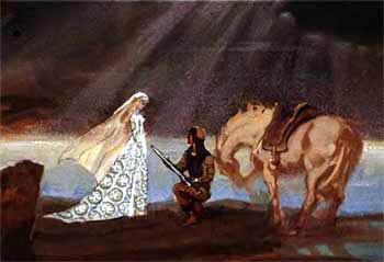 Королевич положил руку на рукоять своего меча и поклялся, что никого не назовет своей женой, кроме дочери короля апельсиновых деревьев