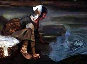 служанка наклонилась над водой и увидела в пруду отражение девушки