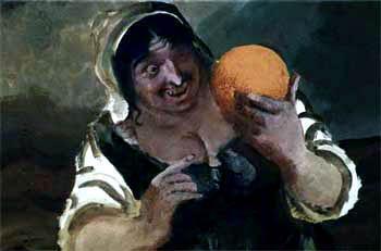 Служанка живо схватила апельсин