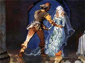 Апельсин прокатился вокруг стола, подкатился к королевичу и раскрылся. Из него вышла прекрасная дочь короля апельсиновых деревьев