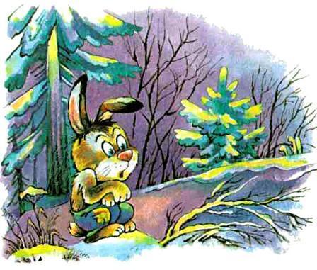 заяц мерзнет в лесу