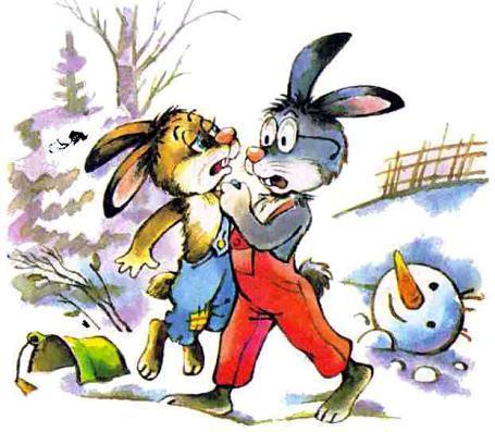 зайцы и снеговик