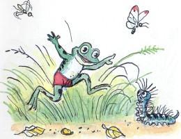 лягушонок, лягушка, гусеница, бабочки