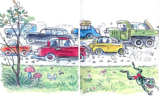 лягушонок, лягушка, дорога, автомобили, город