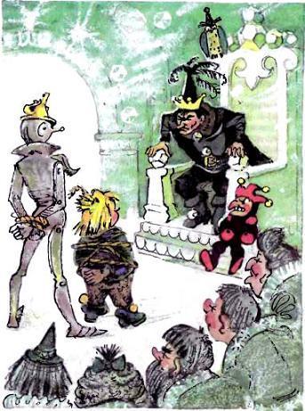 Железного Дровосека и Страшилу привели в тронный зал к Урфину Джюсу