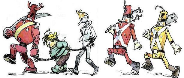 Капрал ведет на веревке Железного Дровосека и Страшилу под конвоем деревянных солдат