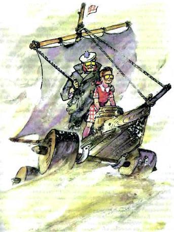 моряк дядя Чарли и Элли перебираются через пустыню на корабле под парусом на колесах