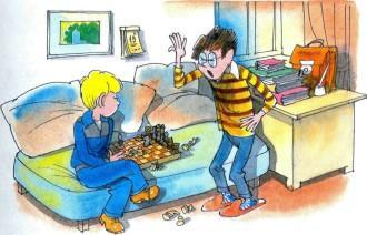 Витя Малеев и Сорокин играют в шахматы