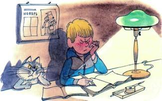 Витя Малеев решает задачки дома