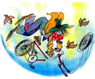 цирк клоун на велосипеде