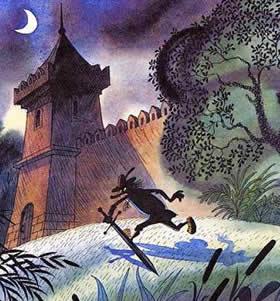 незнакомец с мечем во тьме пробегал рядом со стеной замка