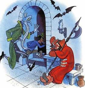 Кощей бессмертный и писарь чумичка бегут из под охраны стрелец спит на посту