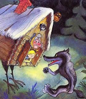 волк прибежал к избушке на курьих ножках Баба-яга и мальчик Митя