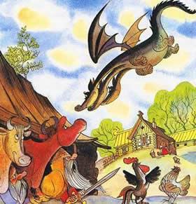 Змей Горыныч летит над деревней