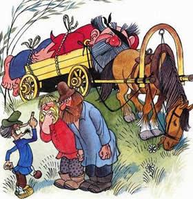 мужики привезли соловья разбойника сдавать на телеге