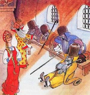 Василиса премудрая и царь Макар бояре спят на лавке