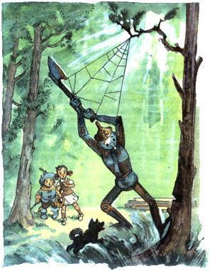Элли Тотошка и Страшила встречают Железного Дровосека застывшего у дерева