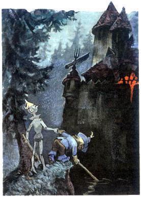 Страшила и Железный дровосек у замка людоеда