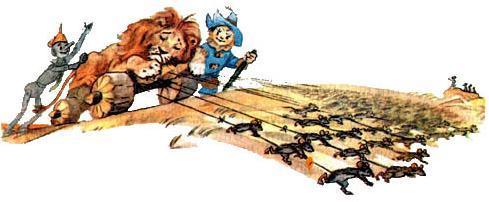 трашила и Железный дровосек вывозят на мышах льва с макового поля