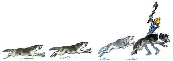 железный дровосек рубит топором головы волкам