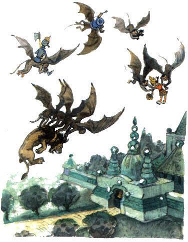 летучие обезьяны несут друзей в Изумрудный город