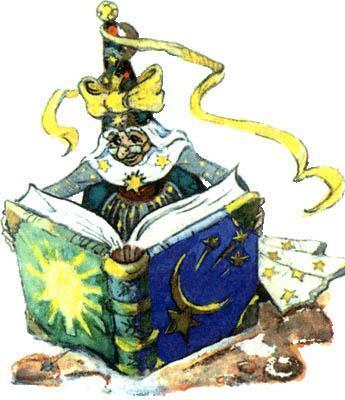 Волшебница Виллина листает книгу