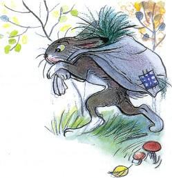 заяц с мешком травы