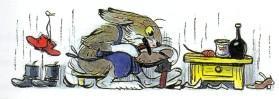 заяц сапожник в мастерской чинит обувь
