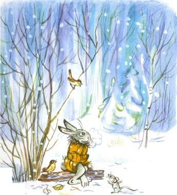 заяц в шубе в лесу на морозе белка зимний лес звери