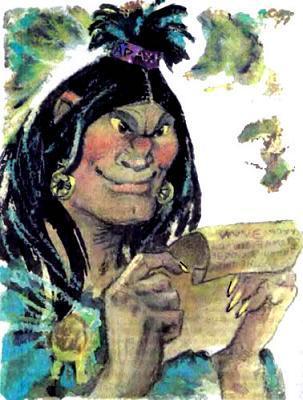 колдунья Арахна держит в руках свиток летопись история волшебной страны
