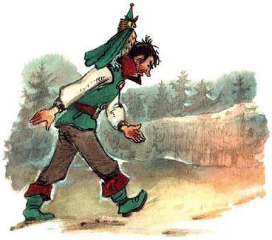 Урфин Джюс бредет с филином Гуамоко на плече