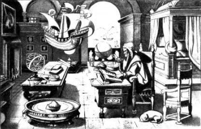 Этот старинный рисунок, сделанный в 1520 году, изображает кабинет астронома тех времен.