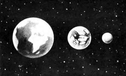 Сравнительные величины Земли, Марса и Луны.