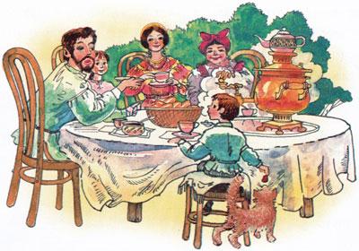 Минька и Леля ужинают со взрослыми