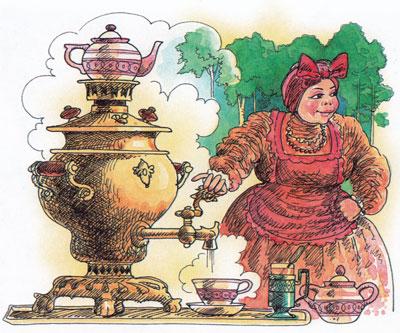 Бабушка наливает чай из самовара